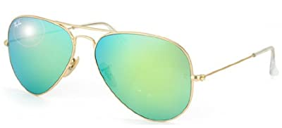 Ray-Ban RB3025 Aviator Sunglasses Matte Gold/Green Mirror (112/19) RB 3025 55mm