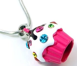 Adorable Juicy Inspired Small Dark Pink Cupcake w/ Frosting and Sparkling Rainbow Crystal Sprinkles Necklace