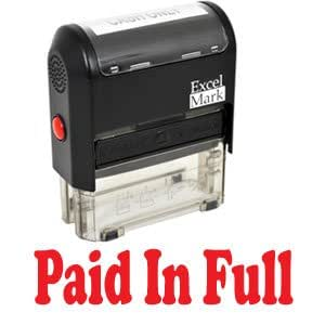 PAID IN FULL Self Inking Rubber Stamp - Red Ink (42A1539WEB-R)