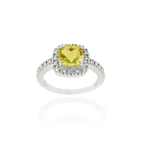 Sterling Silver Citrine & Diamond Accent Square Ring