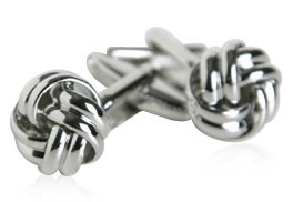 Classic Woven Silver Knot Cufflinks with Presentation Box