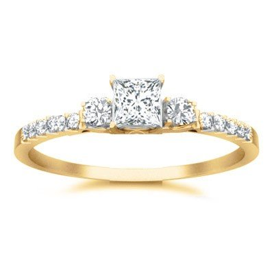 0.58 Carat Diamond Wedding Ring with Princess cut Diamond on 14K Yellow gold