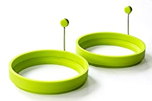 Ocean Kitchen 4-Pack Silicone Round Mold / Ring for Perfect Eggs Pancakes & More!, Neon Green)4-Pack Premium Silicone Round Mold / Ring for Perfect Eggs Pancakes & More!, (Neon Green)