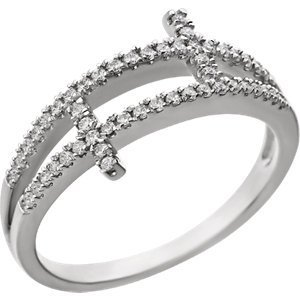 Sterling Silver Cubic Zirconia Sideways Cross Ring Size 8