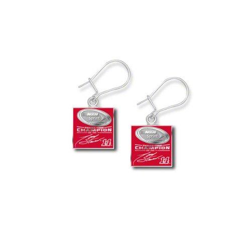 NASCAR 2011 NSCC Tony Stewart Sterling Silver 3X Champ Enameled Dangle Earrings