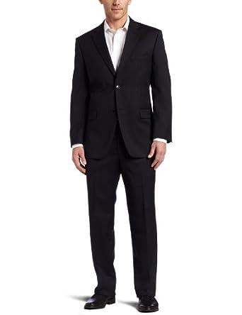 Jones New York Mens Athletic Fit Suit, Charcoal Stripe, 38R