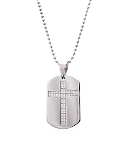 1913 Stainless Steel CZ Cross Dog Tag Necklace