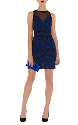 Blue Lace Pencil Dress