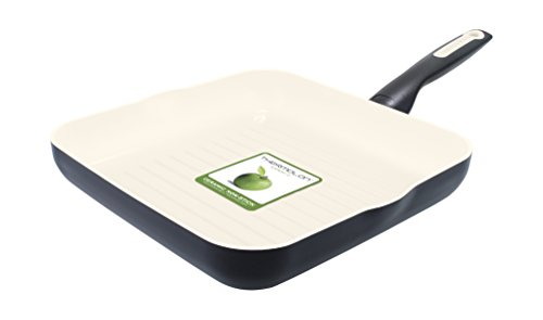 GreenPan Rio 10 Inch Ceramic Non-Stick Square Grill Pan, Black