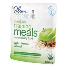 Plum Organics Baby Breakfast Training Meals Apple Cinnamon Oatmeal -- 4 oz