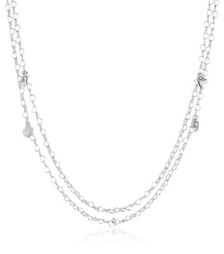 Guess Damen-Halskette Silberfarben Rhodiniert Anhänger mit Weißen Schmucksteinchen 150cm UBN80101 thumbnail