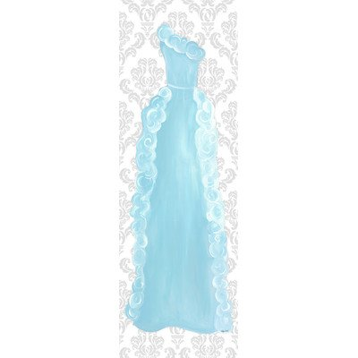 Doodlefish DB1728s Aquamarine Dress Grey Damask Artwork, Stretched Canvas