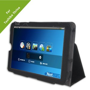 Poetic Slimbook Leather Case for Toshiba Thrive 10.1-Inch Android Tablet, Black