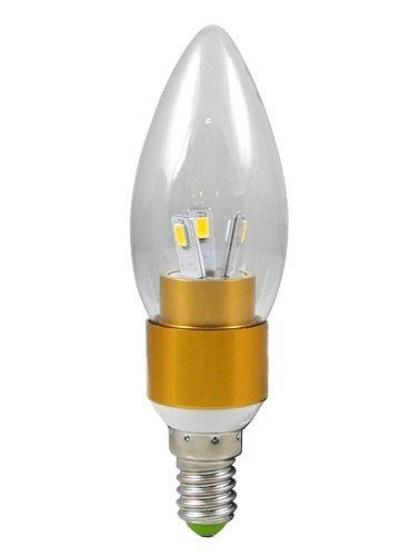 1X E14 3W LED Kerze wie Lampe Birne LED Leuchtmittel mit Aluminium-Karosserie (Kaltweiß 6000K, 270Lumen, 360º Abstrahlwinkel, AC 85V - 265V - Ø35×115mm) Energiespar Licht - Golden