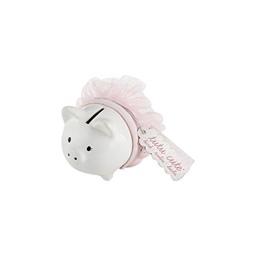 Kate Aspen Tutu Cute Ceramic Mini-Piggy Bank, White/Pink