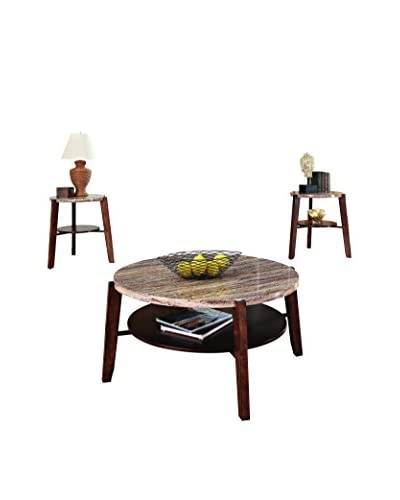 ACME Furniture 3-Piece Coffee/End Table Set, Faux Marble