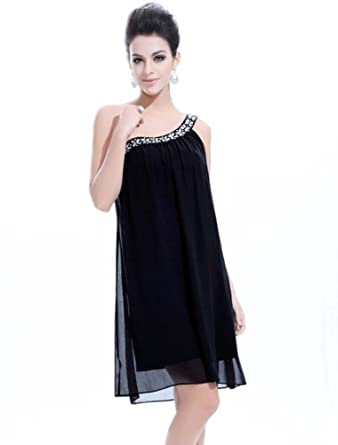 Ever Pretty Womens One Shoulder Short Party Dress 4 US Black