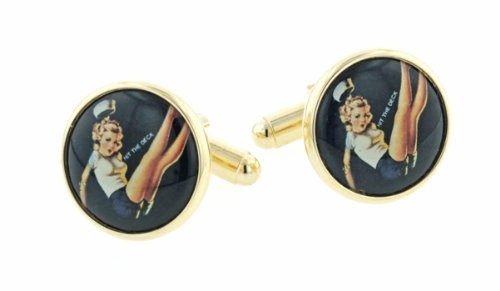 JJ Weston gold plated cufflinks with a saucy sailorette pin-up image with presentation box. Made in the U.S.A
