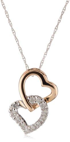 Kobelli 1/10 ct Diamond 14k Rose and White Gold Heart Shaped Pendant Necklace
