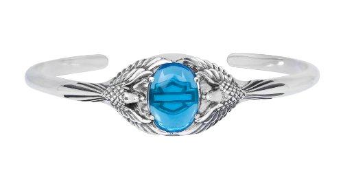 Harley-Davidson Womens .925 Silver Blue Eagle Cuff Bracelet (7 Inches)