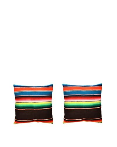 Uptown Down Set of 2 Found Mexican Blanket Pillows, Black/Multi