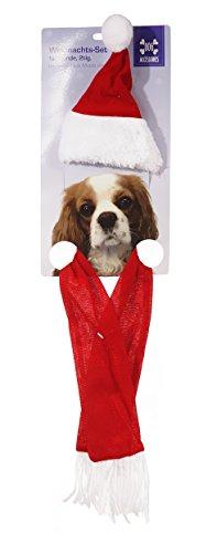 2 tlg Weihnachtsmütze & Schal für Hunde, Katzen, Hase