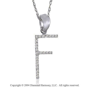 14k White Gold Large Casual Fun Diamond ^F^ Initial Pendant