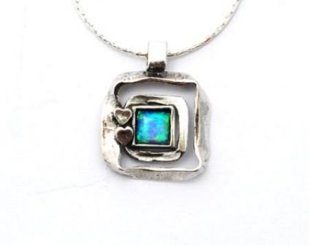 Designer Jewllery - Contemporary Sterling Silver & Blue Opal Square Heart Necklace