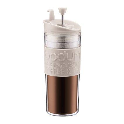 Bodum Insulated Plastic Travel French Press Coffee and Tea Mug, 0.45-Liter, 15-Ounce, White