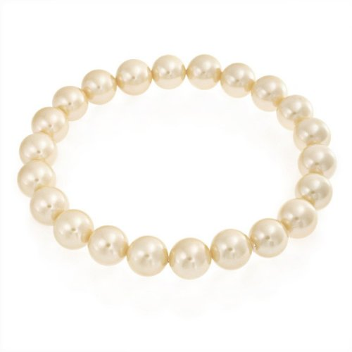 Bling Jewelry Round Golden South Sea Shell Pearl Stretch Bracelet 8mm