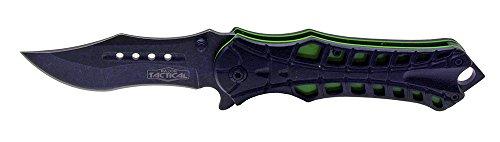 """Jaguar Imports RT-7018GN Spring Assist Folding Knife, Black/Green, 4.75"""" Blade"""