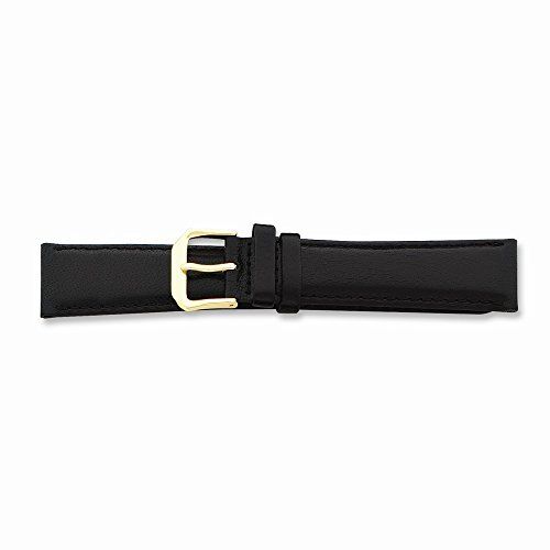 12Mm Black Long Smooth Lthr Gold-Tone Buckle Watch Band
