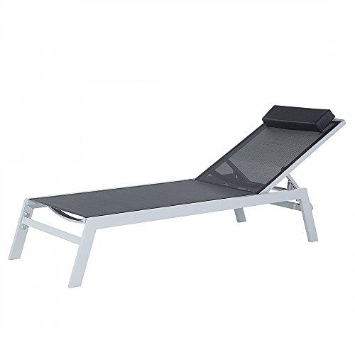 Gartenliege-Schwarz-Sonnenliege-Liegestuhl-Relaxliege-Strandliege-CATANIA-II