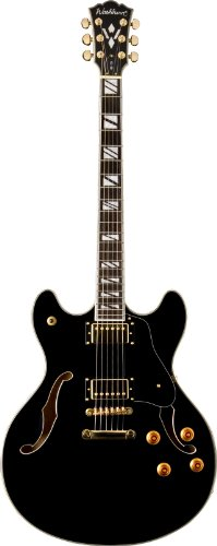 Washburn Hb Series Hb35Bk Hollow-Body Electric Guitar, Black