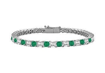 Emerald Diamond Princess Cut Platinum Tennis Bracelet 5.00 CT TGW