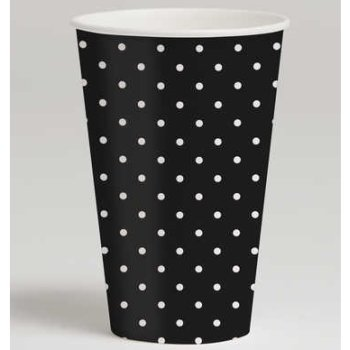 Creative Converting Cupcake Blowout Black Polka Dot Hot or Cold Beverage Cups, 8-Count