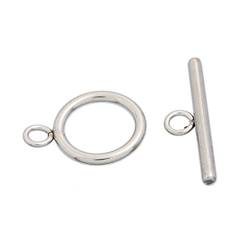 HOUSWEETY Stainless Steel Jewelry Finding 10Sets Toggle Clasps Connectors Silver Tone (Toggle Clasps For Jewelry Making compare prices)
