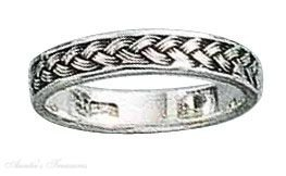 Sterling Silver Thin Braid Ring Size 10