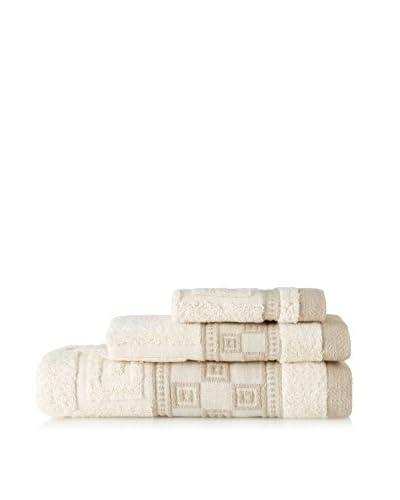 Belle Epoque 3 Piece Jacquard Squares Towel Set, Natural Linen