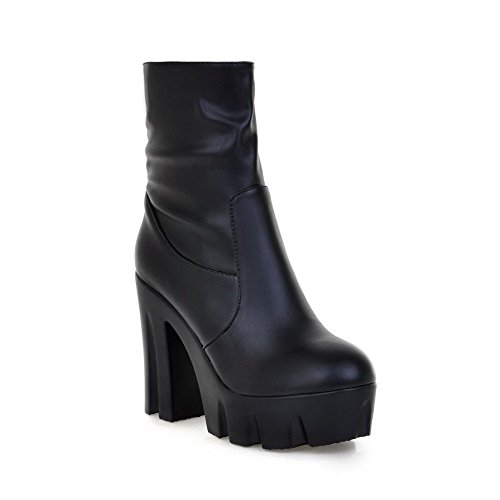 Voguezone009 Womens Closed Round Toe High Heel Chunky Platform Soft Material Pu Solid Boots With Zipper, Black, 36