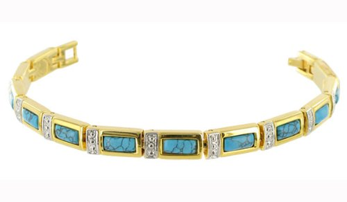 Gold Plated Reconstituted Turquoise Alloy Link Magnetic Bracelet 7.5″