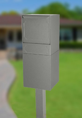 dVault Full Service Locking Mailbox, Gray Post/Column Mount Delivery Vault, Box and Center Mount In-Ground Post Kit, DVU0050PI-2-KIT, Gray