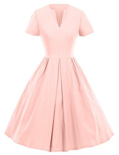 GownTown-1950s-Vintage-Dresses-V-neck-Short-sleeves-Dresses-Swing-Stretchy-Dresses