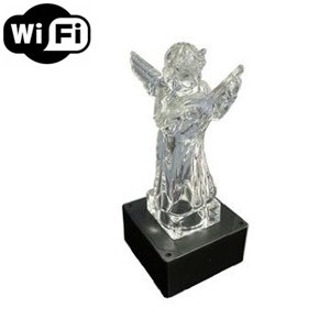 Spy Camera with WiFi Digital IP Signal, Recording & Remote Internet Access, Camera Hidden in a Sculpture Base