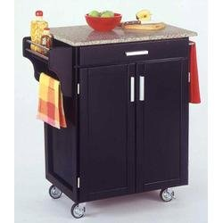 Cheap Homestyles 9001-0043 Black Kitchen Cart with Granite Top (9001-0043)