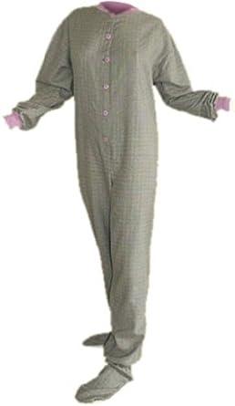 Green/Lavender Plaid Cotton Flannel Adult Footie Pajamas w/ Drop-seat (M)