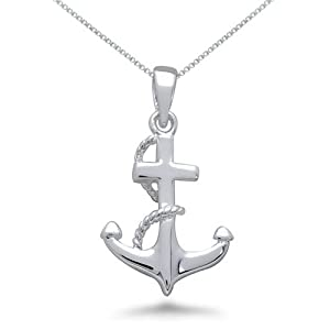 Sterling Silver High Polish Anchor Pendant Necklace -16IN