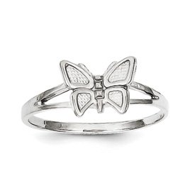 Genuine IceCarats Designer Jewelry Gift 10K White Gold Butterfly Ring Size 5.00