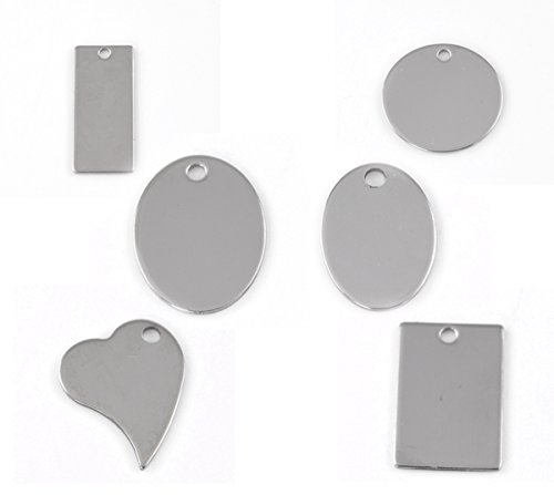30pcs Silver Tone Stainless Steel Blank Stamping Tags Mixed Shape Charm Pendants 24x17mm-38x16mm (Steel Stamping Blanks compare prices)