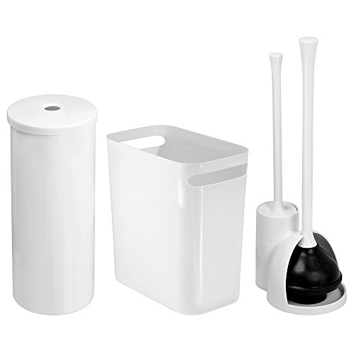 mdesign bathroom plunger toilet bowl brush set toilet paper roll holder and wastebasket trash. Black Bedroom Furniture Sets. Home Design Ideas